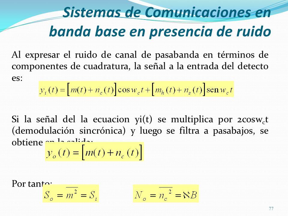Al expresar el ruido de canal de pasabanda en términos de componentes de cuadratura, la señal a la entrada del detecto es: Si la señal del la ecuacion