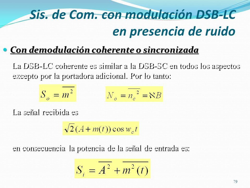 Sis. de Com. con modulación DSB-LC en presencia de ruido Con demodulación coherente o sincronizada 79 La DSB-LC coherente es similar a la DSB-SC en to