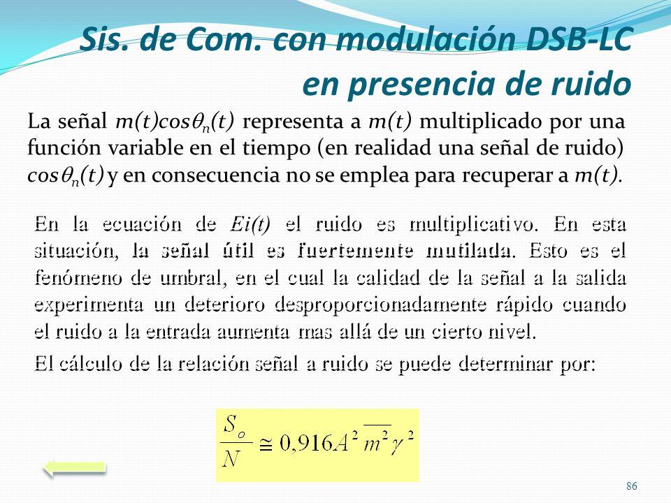 La señal m(t)cos n (t) representa a m(t) multiplicado por una función variable en el tiempo (en realidad una señal de ruido) cos n (t) y en consecuenc