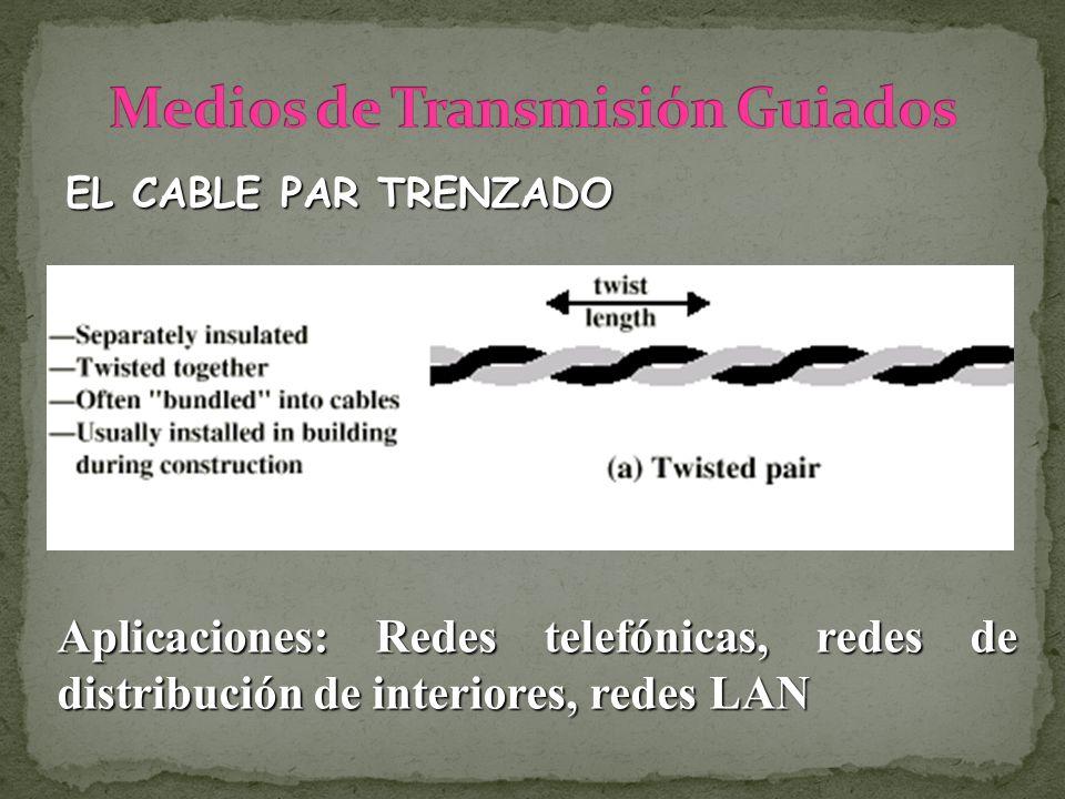 EL CABLE PAR TRENZADO Aplicaciones: Redes telefónicas, redes de distribución de interiores, redes LAN