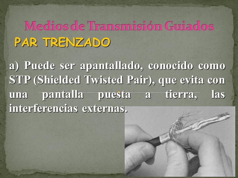 PAR TRENZADO a) Puede ser apantallado, conocido como STP (Shielded Twisted Pair), que evita con una pantalla puesta a tierra, las interferencias exter