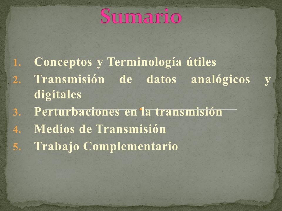 1. Conceptos y Terminología útiles 2. Transmisión de datos analógicos y digitales 3. Perturbaciones en la transmisión 4. Medios de Transmisión 5. Trab