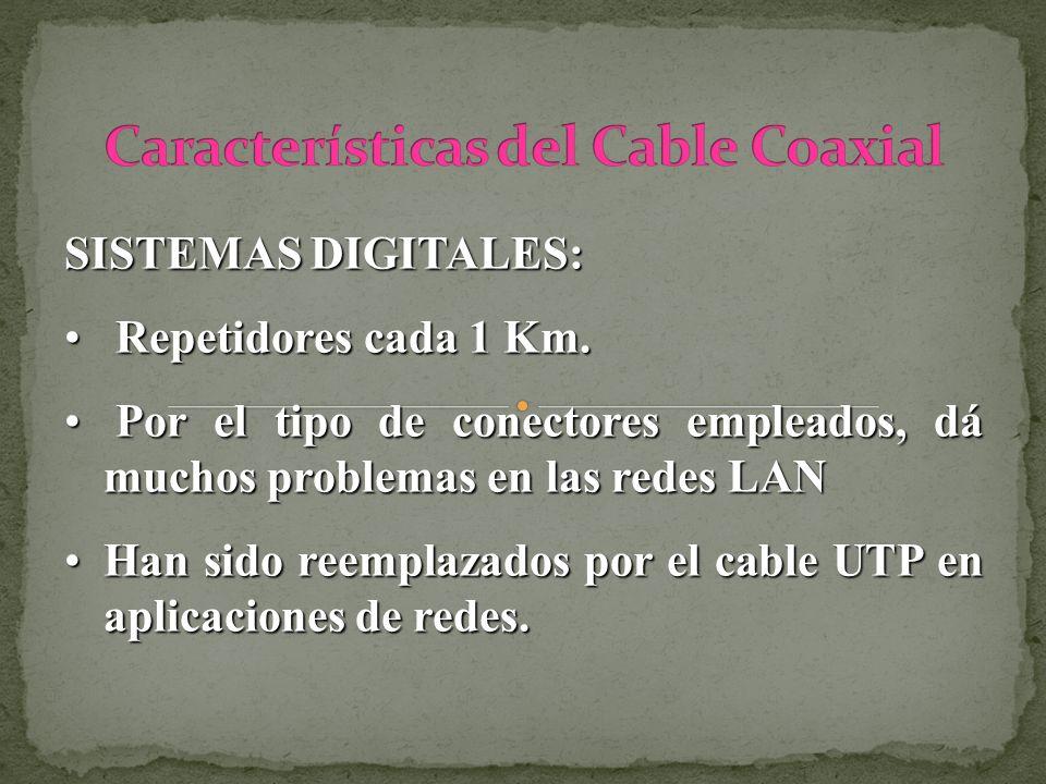 SISTEMAS DIGITALES: Repetidores cada 1 Km. Repetidores cada 1 Km. Por el tipo de conectores empleados, dá muchos problemas en las redes LAN Por el tip