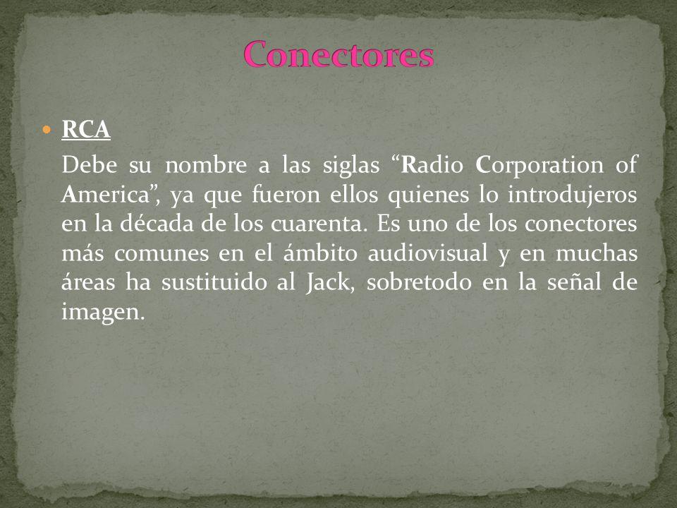 RCA Debe su nombre a las siglas Radio Corporation of America, ya que fueron ellos quienes lo introdujeros en la década de los cuarenta. Es uno de los