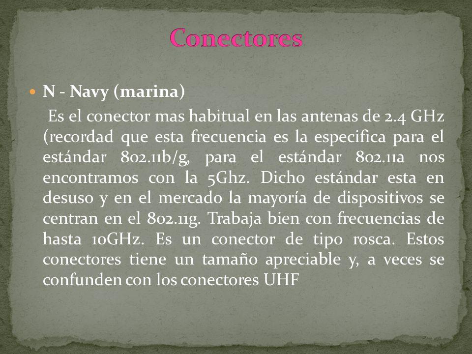 N - Navy (marina) Es el conector mas habitual en las antenas de 2.4 GHz (recordad que esta frecuencia es la especifica para el estándar 802.11b/g, par