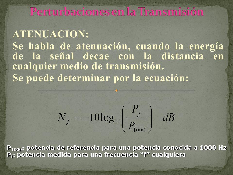 ATENUACION: Se habla de atenuación, cuando la energía de la señal decae con la distancia en cualquier medio de transmisión. Se puede determinar por la