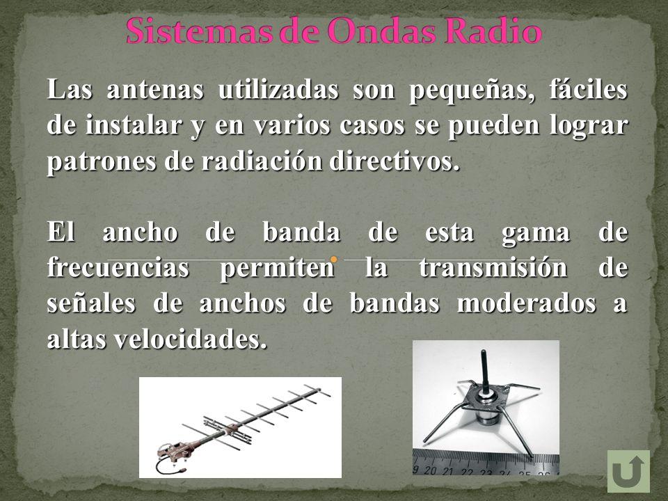 Las antenas utilizadas son pequeñas, fáciles de instalar y en varios casos se pueden lograr patrones de radiación directivos. El ancho de banda de est