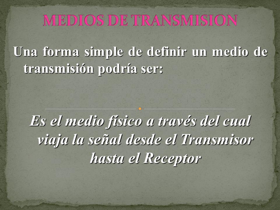 Una forma simple de definir un medio de transmisión podría ser: Es el medio físico a través del cual viaja la señal desde el Transmisor hasta el Recep