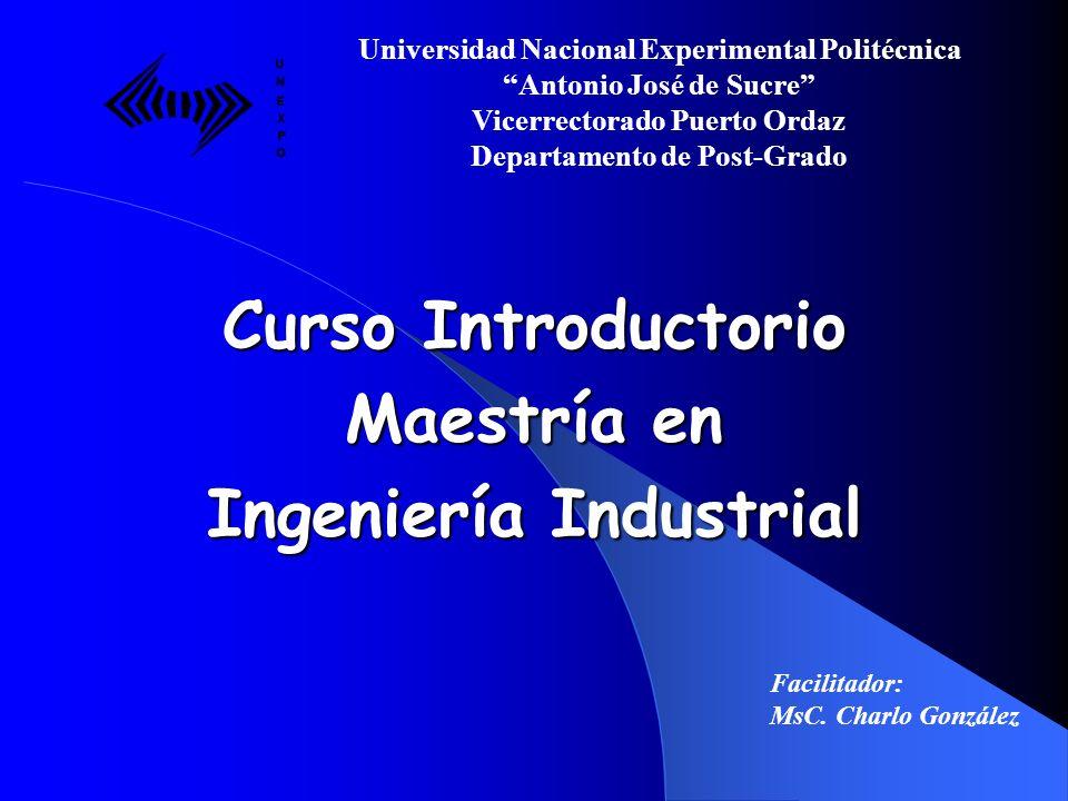 Presentación del Profesor Universidad Nacional Experimental Politécnica Antonio José de Sucre Vicerrectorado Puerto Ordaz Departamento de Post-Grado Facilitador: MsC.