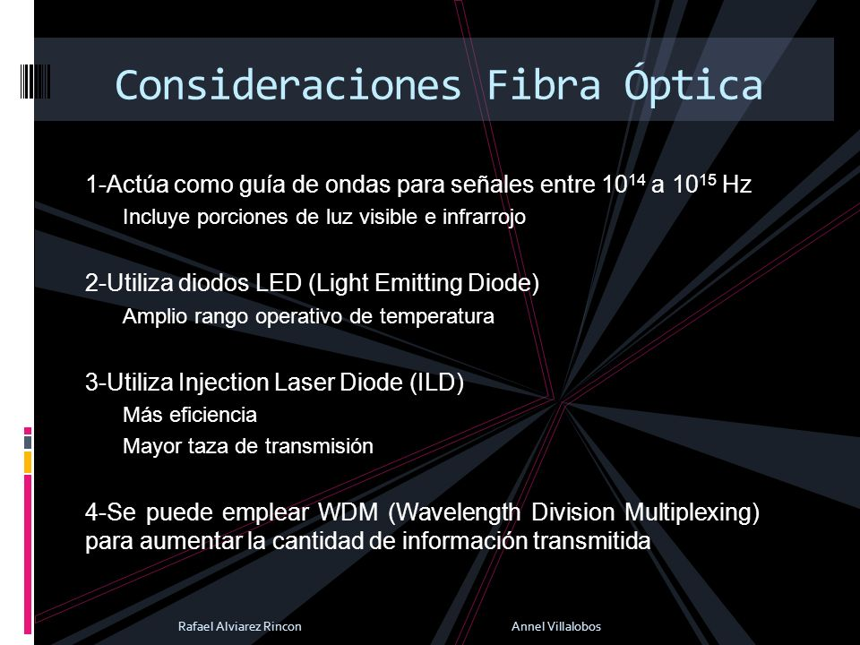 1-Actúa como guía de ondas para señales entre 10 14 a 10 15 Hz Incluye porciones de luz visible e infrarrojo 2-Utiliza diodos LED (Light Emitting Diod