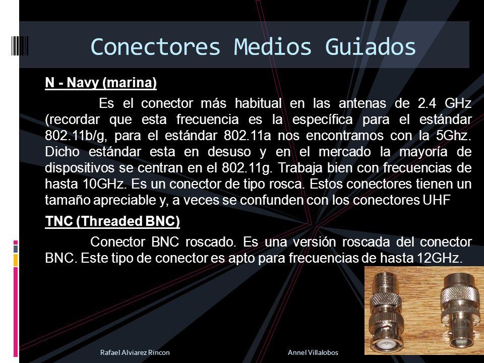 N - Navy (marina) Es el conector más habitual en las antenas de 2.4 GHz (recordar que esta frecuencia es la específica para el estándar 802.11b/g, par