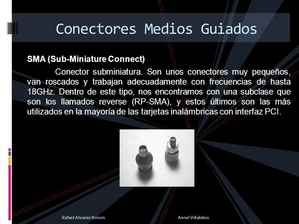 SMA (Sub-Miniature Connect) Conector subminiatura. Son unos conectores muy pequeños, van roscados y trabajan adecuadamente con frecuencias de hasta 18