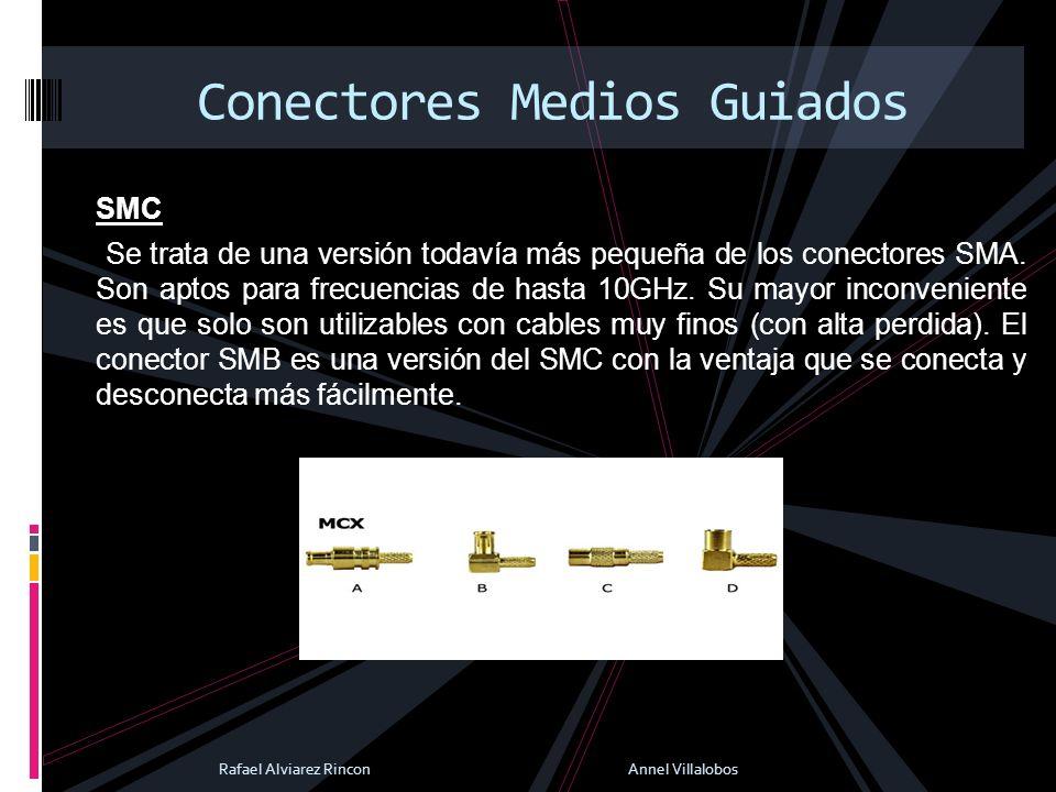 SMC Se trata de una versión todavía más pequeña de los conectores SMA. Son aptos para frecuencias de hasta 10GHz. Su mayor inconveniente es que solo s