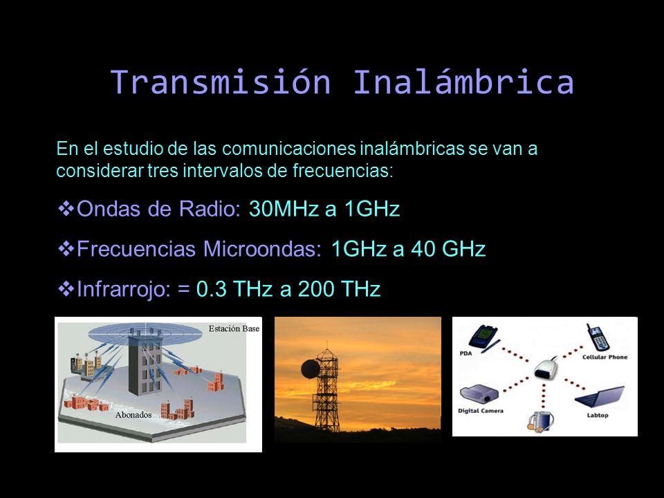 Transmisión Inalámbrica En el estudio de las comunicaciones inalámbricas se van a considerar tres intervalos de frecuencias: Ondas de Radio: 30MHz a 1