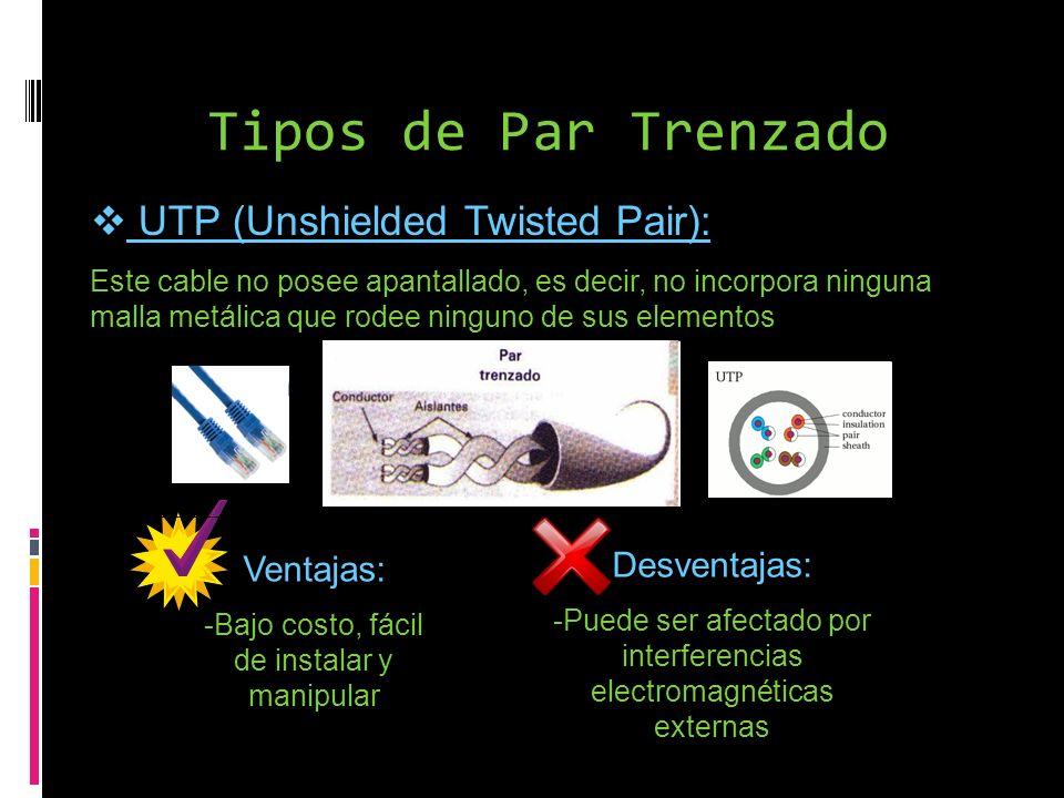 Tipos de Par Trenzado UTP (Unshielded Twisted Pair): Este cable no posee apantallado, es decir, no incorpora ninguna malla metálica que rodee ninguno