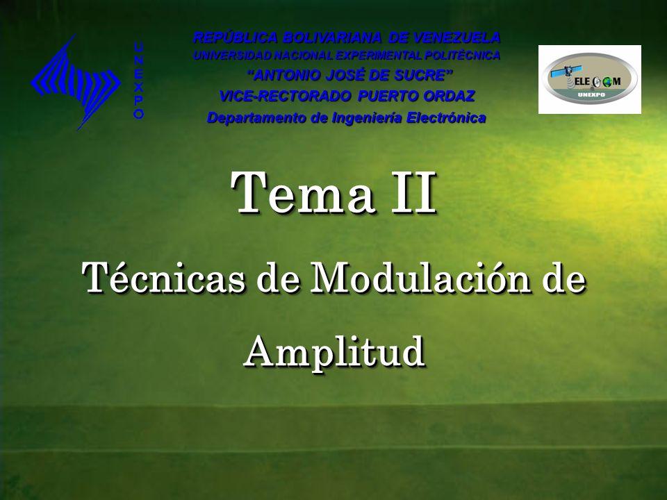 Tema II Técnicas de Modulación de Amplitud REPÚBLICA BOLIVARIANA DE VENEZUELA UNIVERSIDAD NACIONAL EXPERIMENTAL POLITÉCNICA ANTONIO JOSÉ DE SUCRE ANTO