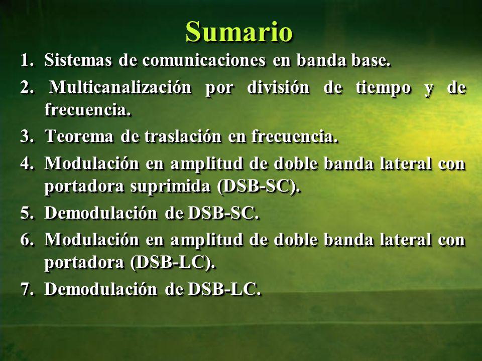 SumarioSumario 1.Sistemas de comunicaciones en banda base. 2. Multicanalización por división de tiempo y de frecuencia. 3.Teorema de traslación en fre