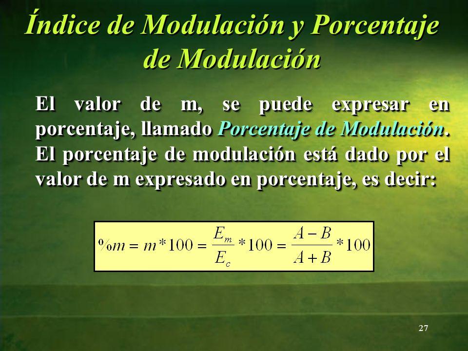 El valor de m, se puede expresar en porcentaje, llamado Porcentaje de Modulación. El porcentaje de modulación está dado por el valor de m expresado en