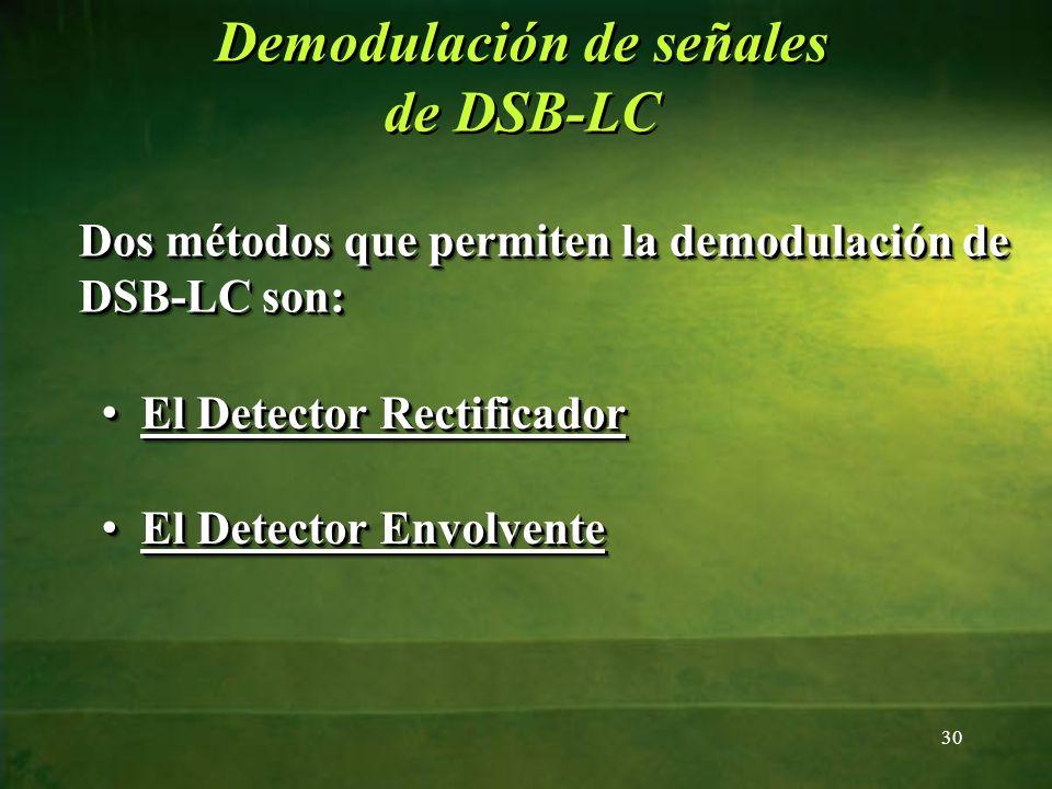 Dos métodos que permiten la demodulación de DSB-LC son: 30 El Detector Rectificador El Detector Rectificador El Detector Rectificador El Detector Rect