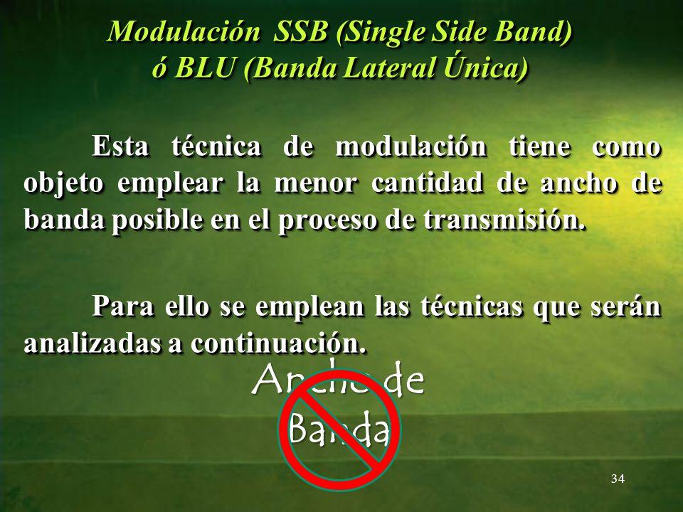 Modulación SSB (Single Side Band) ó BLU (Banda Lateral Única) Esta técnica de modulación tiene como objeto emplear la menor cantidad de ancho de banda