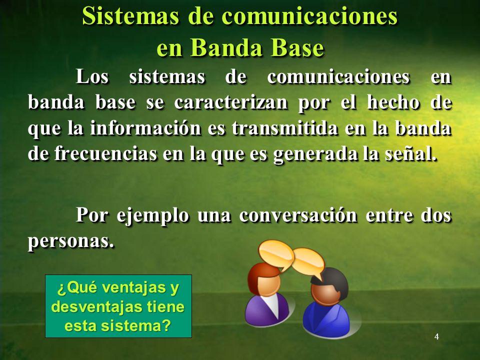 Sistemas de comunicaciones en Banda Base Los sistemas de comunicaciones en banda base se caracterizan por el hecho de que la información es transmitid