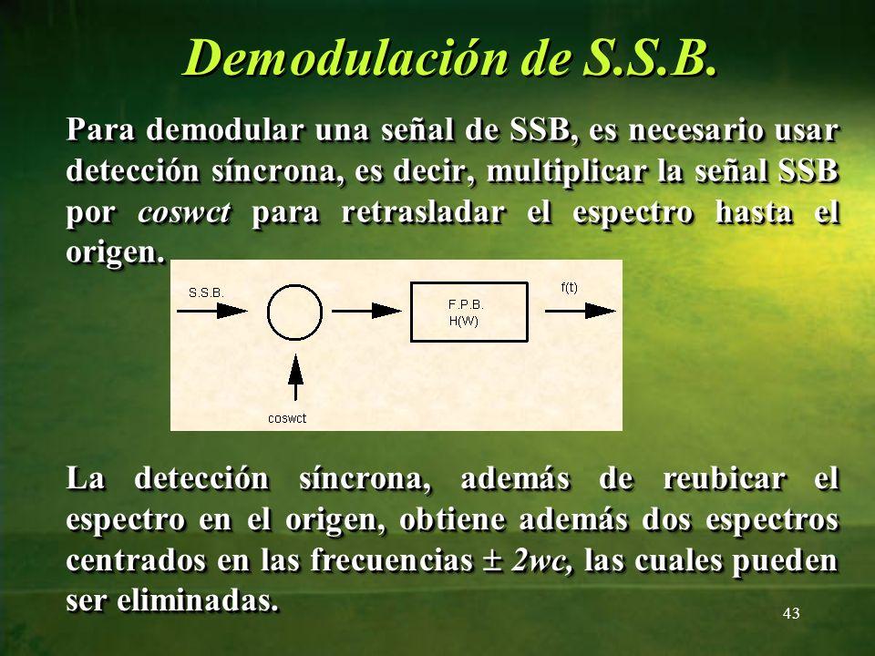 Demodulación de S.S.B. Para demodular una señal de SSB, es necesario usar detección síncrona, es decir, multiplicar la señal SSB por coswct para retra