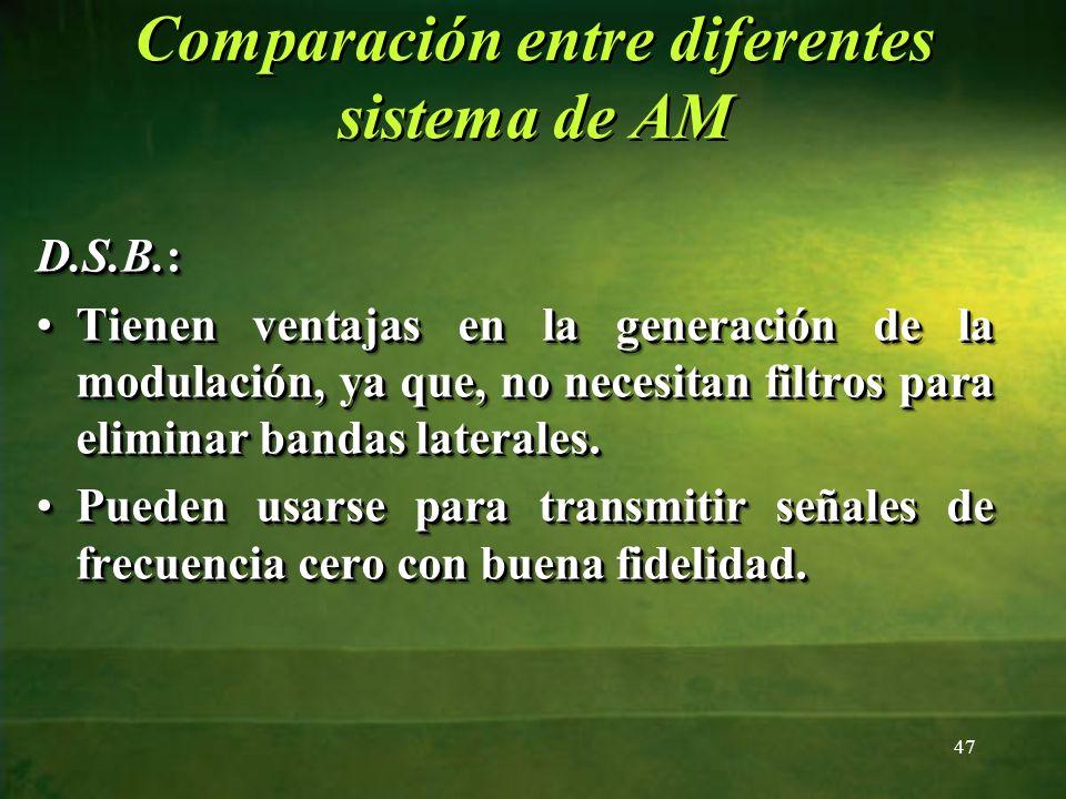 D.S.B.: Tienen ventajas en la generación de la modulación, ya que, no necesitan filtros para eliminar bandas laterales.Tienen ventajas en la generació
