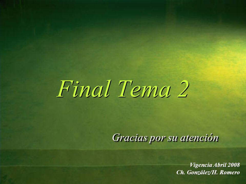 Final Tema 2 Gracias por su atención Gracias por su atención Vigencia Abril 2008 Ch. González/H. Romero