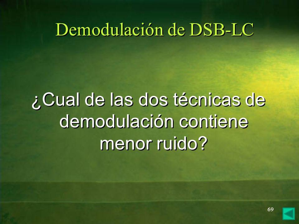 Demodulación de DSB-LC ¿Cual de las dos técnicas de demodulación contiene menor ruido? 69