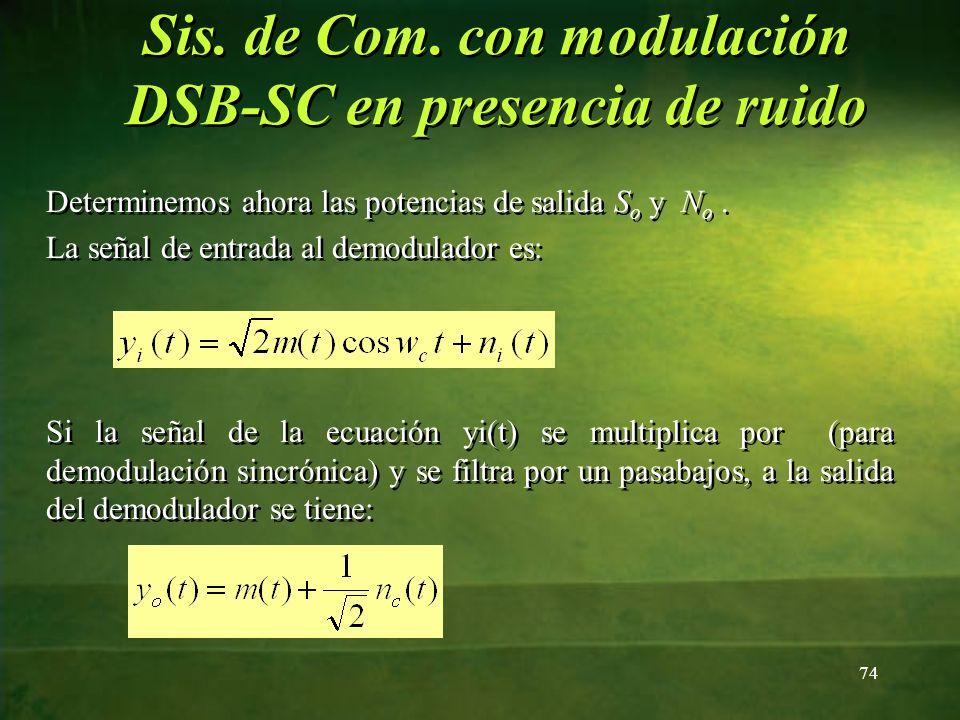 Determinemos ahora las potencias de salida S o y N o. La señal de entrada al demodulador es: Si la señal de la ecuación yi(t) se multiplica por (para