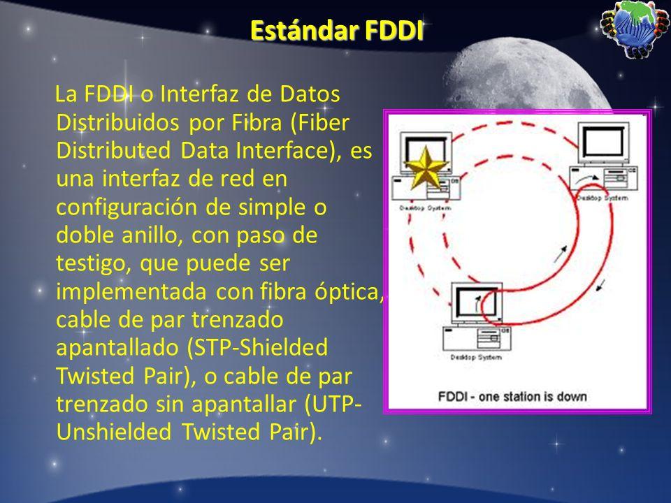 Estándar FDDI La FDDI o Interfaz de Datos Distribuidos por Fibra (Fiber Distributed Data Interface), es una interfaz de red en configuración de simple