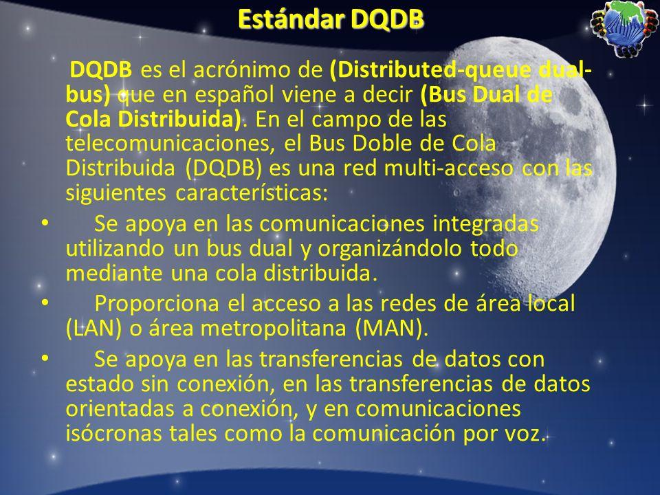 Estándar DQDB DQDB es el acrónimo de (Distributed-queue dual- bus) que en español viene a decir (Bus Dual de Cola Distribuida). En el campo de las tel