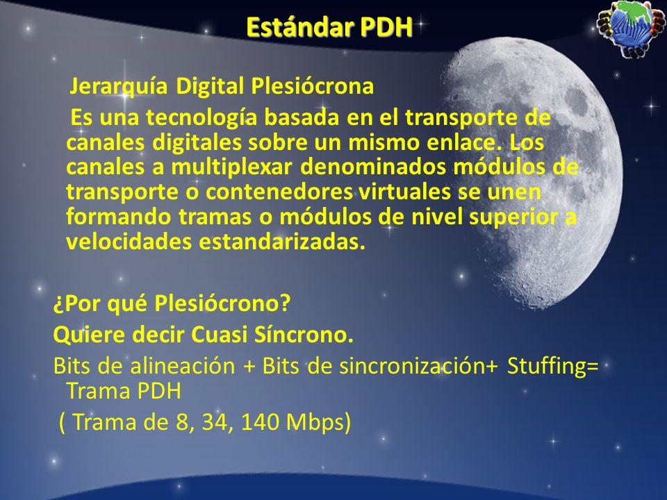Estándar PDH Jerarquía Digital Plesiócrona Es una tecnología basada en el transporte de canales digitales sobre un mismo enlace. Los canales a multipl