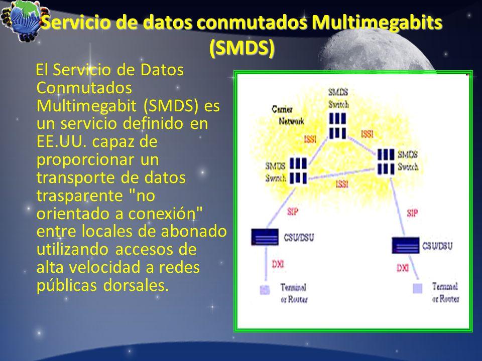 Servicio de datos conmutados Multimegabits (SMDS) El Servicio de Datos Conmutados Multimegabit (SMDS) es un servicio definido en EE.UU. capaz de propo