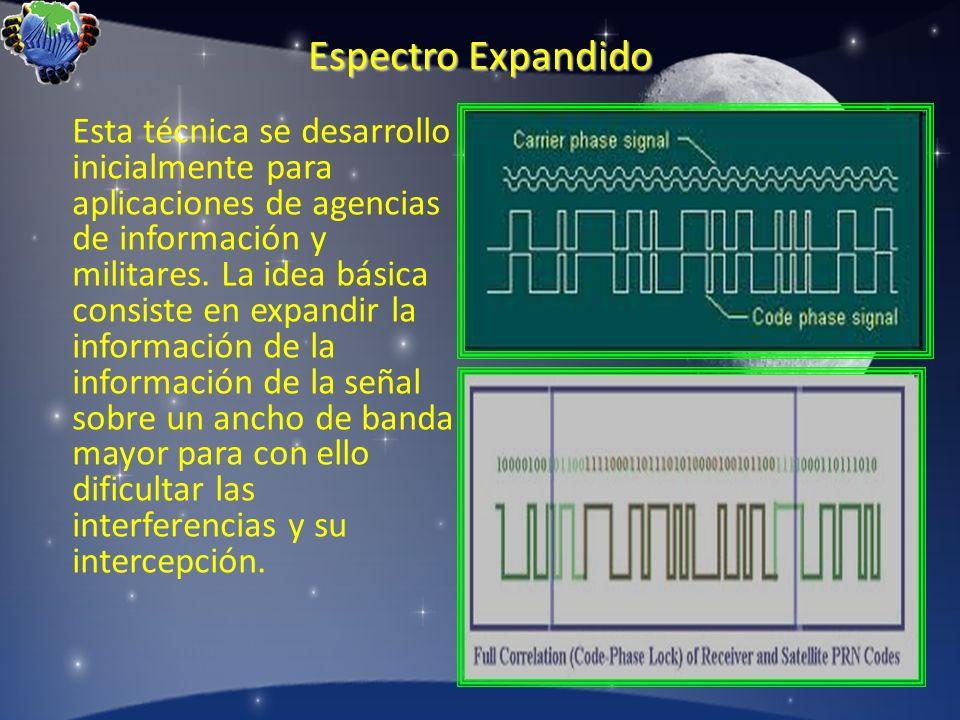 Espectro Expandido Esta técnica se desarrollo inicialmente para aplicaciones de agencias de información y militares. La idea básica consiste en expand
