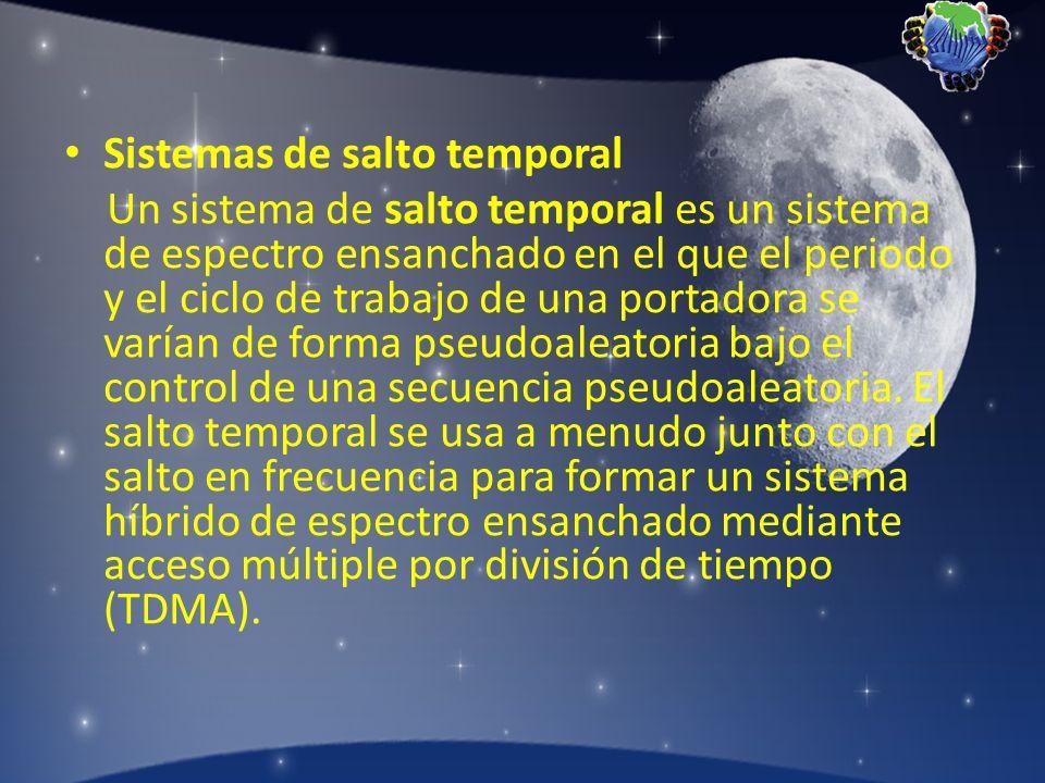 Sistemas de salto temporal Un sistema de salto temporal es un sistema de espectro ensanchado en el que el periodo y el ciclo de trabajo de una portado