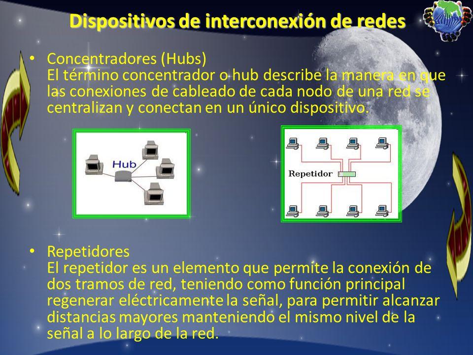Dispositivos de interconexión de redes Concentradores (Hubs) El término concentrador o hub describe la manera en que las conexiones de cableado de cad