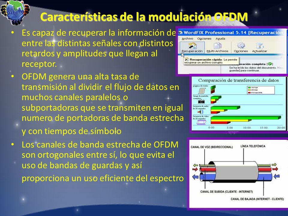 Características de la modulación OFDM Es capaz de recuperar la información de entre las distintas señales con distintos retardos y amplitudes que lleg