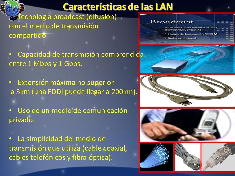Características de las LAN Tecnología broadcast (difusión) con el medio de transmisión compartido. Capacidad de transmisión comprendida entre 1 Mbps y