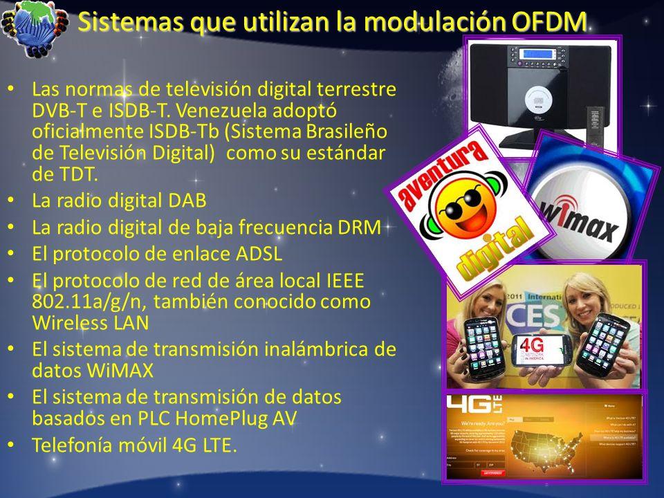 Sistemas que utilizan la modulación OFDM Las normas de televisión digital terrestre DVB-T e ISDB-T. Venezuela adoptó oficialmente ISDB-Tb (Sistema Bra