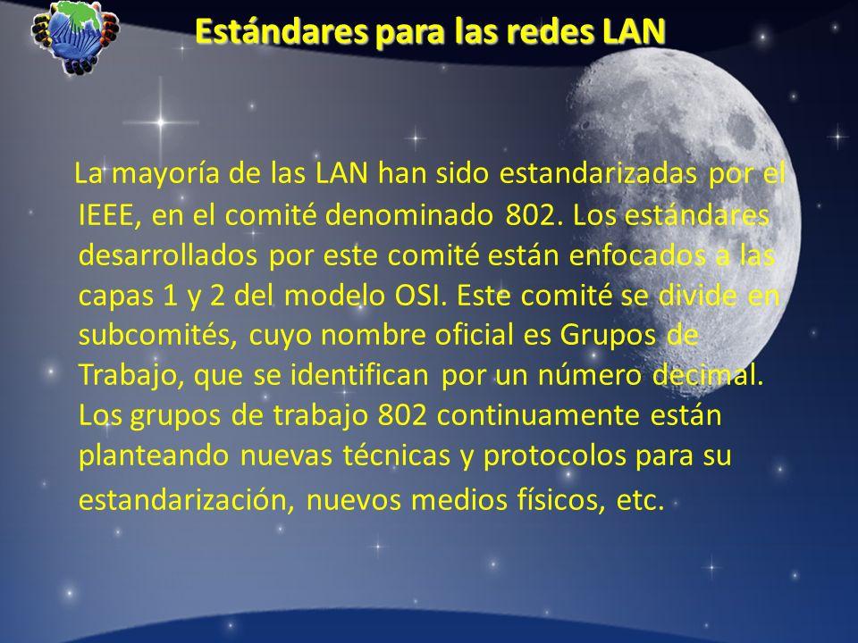 Estándares para las redes LAN La mayoría de las LAN han sido estandarizadas por el IEEE, en el comité denominado 802. Los estándares desarrollados por