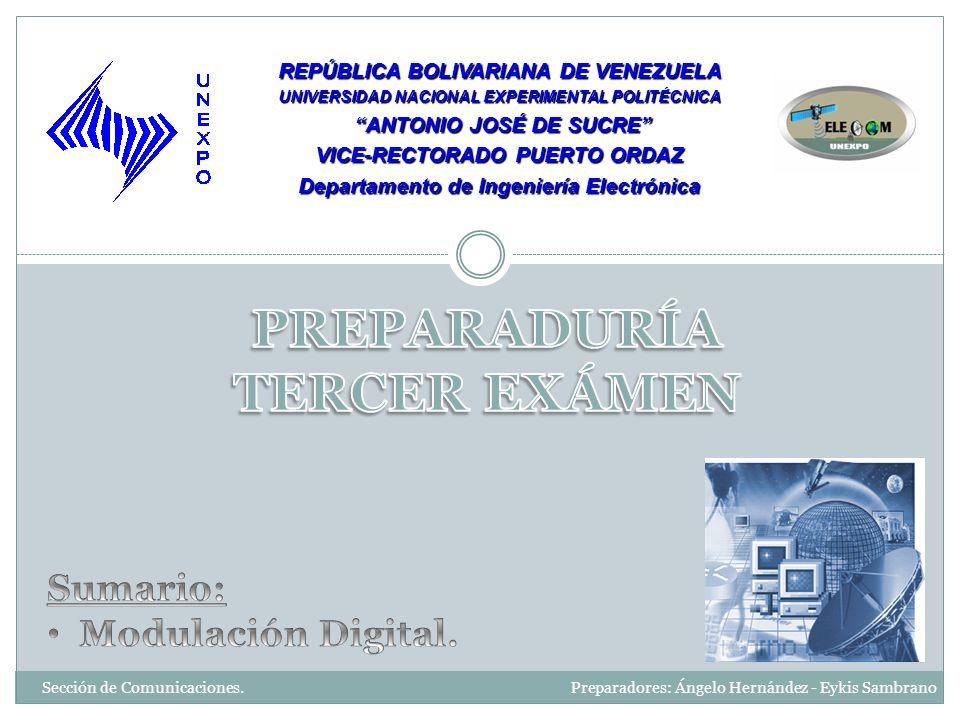 Sección de Comunicaciones. Preparadores: Ángelo Hernández - Eykis Sambrano REPÚBLICA BOLIVARIANA DE VENEZUELA UNIVERSIDAD NACIONAL EXPERIMENTAL POLITÉ
