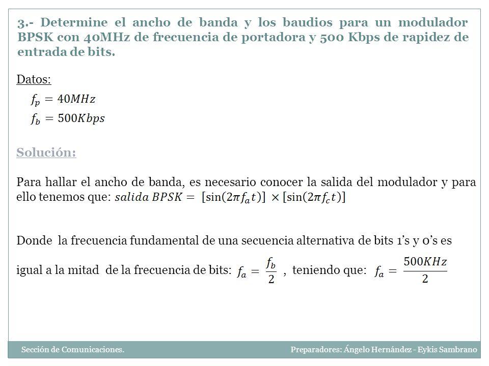 Y así tenemos que: Y aplicando la identidad trigonométrica: Por lo tanto la frecuencia mínima de lado inferior es: Y la frecuencia máxima de lado superior es: Y por Nyquist, el ancho mínimo de banda es: Y los baudios son igual a la rapidez de entrada de bits, es decir, 500Kbaudios Sección de Comunicaciones.