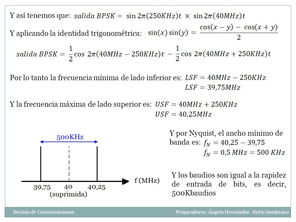 Y así tenemos que: Y aplicando la identidad trigonométrica: Por lo tanto la frecuencia mínima de lado inferior es: Y la frecuencia máxima de lado supe