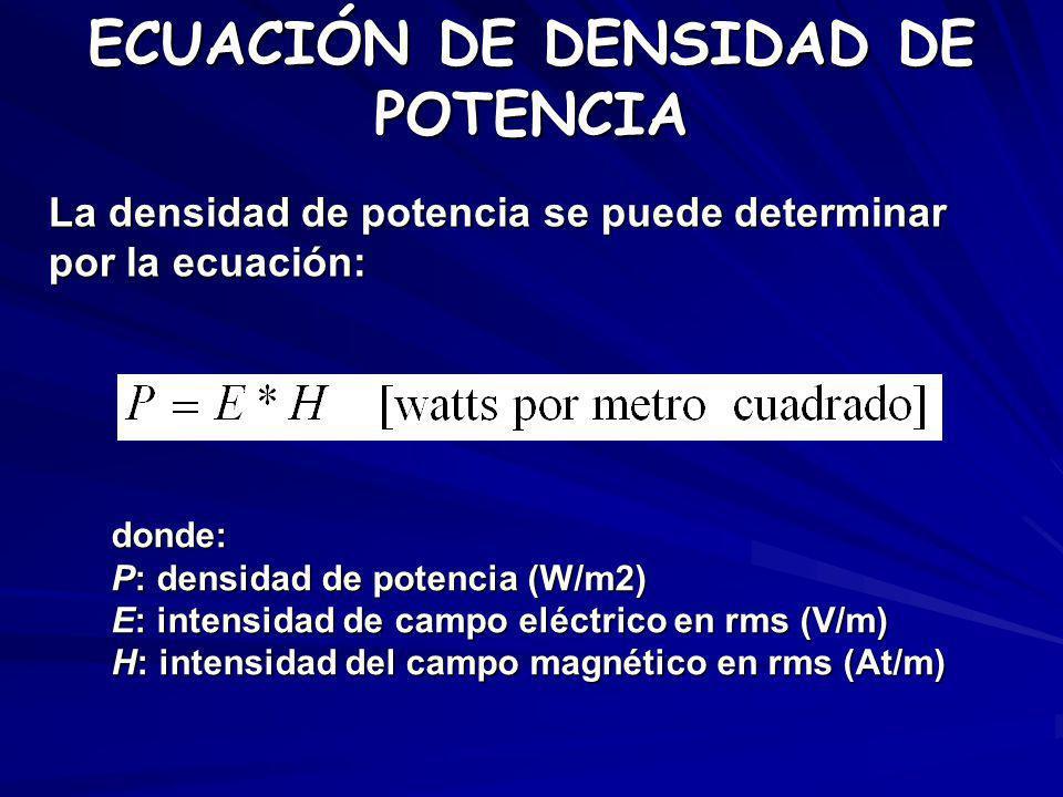 ECUACIÓN DE DENSIDAD DE POTENCIA La densidad de potencia se puede determinar por la ecuación: donde: P: densidad de potencia (W/m2) E: intensidad de c