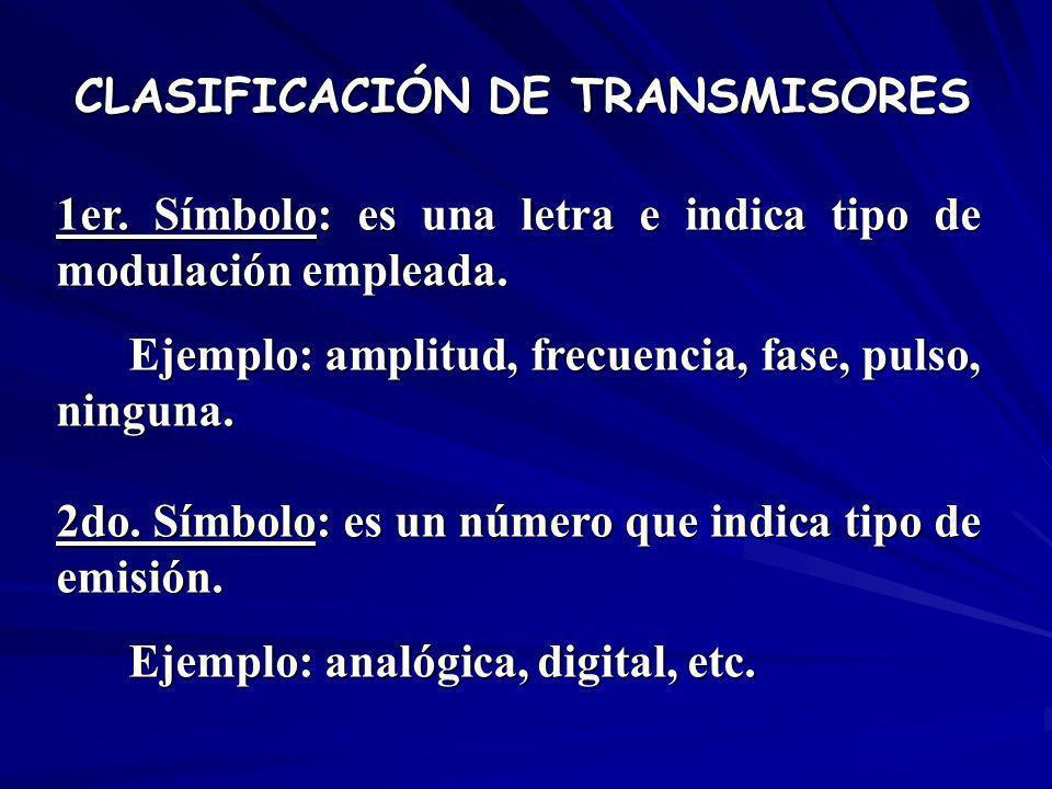 1er. Símbolo: es una letra e indica tipo de modulación empleada. Ejemplo: amplitud, frecuencia, fase, pulso, ninguna. 2do. Símbolo: es un número que i