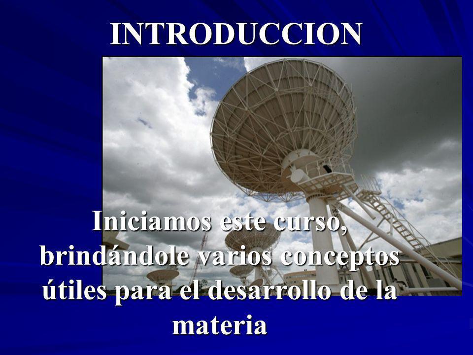 INTRODUCCION Iniciamos este curso, brindándole varios conceptos útiles para el desarrollo de la materia