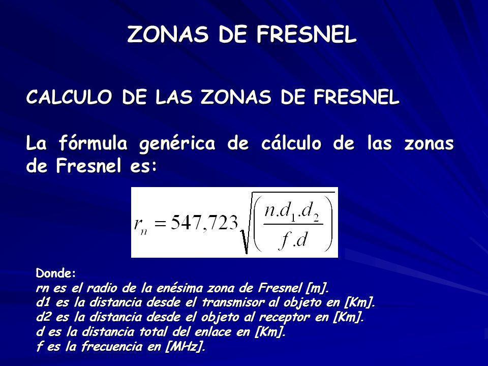 CALCULO DE LAS ZONAS DE FRESNEL La fórmula genérica de cálculo de las zonas de Fresnel es: Donde: rn es el radio de la enésima zona de Fresnel [m]. d1