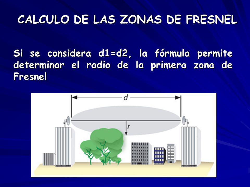 Si se considera d1=d2, la fórmula permite determinar el radio de la primera zona de Fresnel CALCULO DE LAS ZONAS DE FRESNEL