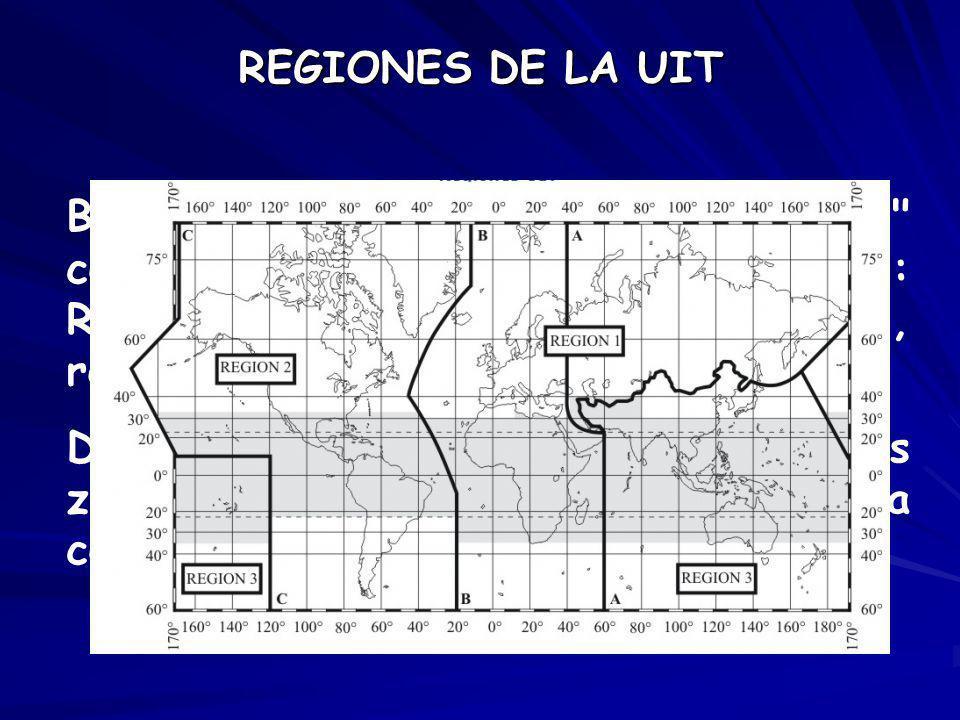 Dichas regiones se refieren a distintas zonas geográficas, como se indica a continuación: REGIONES DE LA UIT